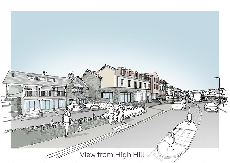 Sketch of the proposed Premier Inn viewed facing north from High Hill